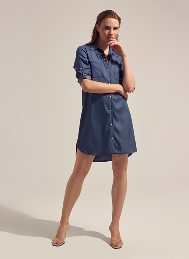 Monamoda %100 Tensel Apolet Kol Gömlek Elbise Mavi
